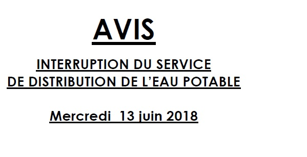 Interrruption du service de distribution de l'eau potable