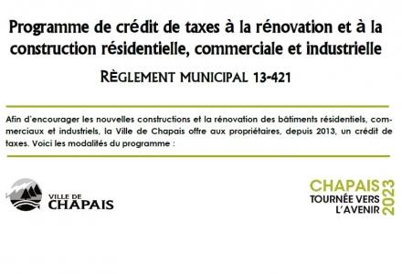 Crédit de taxes à la rénovation et à la construction